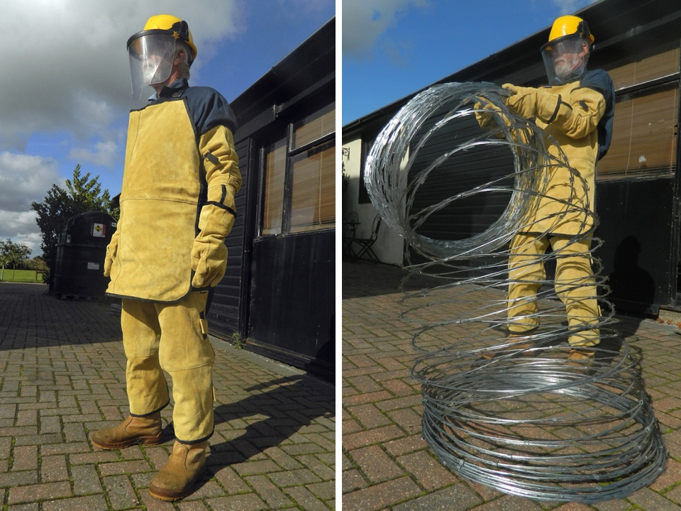 Razor wire PPE protective gloves, body protection
